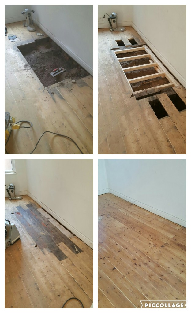 Wooden Floor Repairs And Restoration And Concrete Hearth Removal